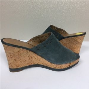 Franco Sarto Genuine Gray Leather Suede Cork Wedge